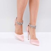 True Decadence Light Pink Embellished Pumps at asos.com