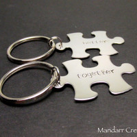 Puzzle Piece Keychains, Better Together, Hand Stamped, Stainless Steel, Couples Accessory, Wedding Gift, Best Friends