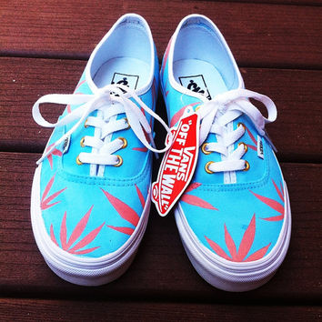 Blue/Peach Marijuana Leaf Custom Vans. Size Womens 7.5/Mens 6