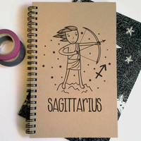Writing journal, spiral notebook, cute diary, small sketchbook, scrapbook, memory book, 5x8 journal - Sagittarius, zodiac sign, astrology