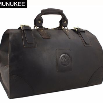 MUNUKEE Vintage luggage bag Crazy Horse Genuine Leather Travel bag  men Leather duffle bag Large Weekend Bag Tote Big