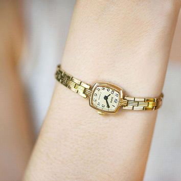 Vintage cocktail watch for women Dawn, gold plated lady's watch, evening watch bracelet her, women wristwatch rectangular tiny gift for Xmas