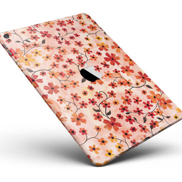 "Flowers with Stems over Orange Watercolor Full Body Skin for the iPad Pro (12.9"" or 9.7"" available)"