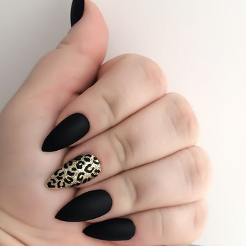 Black Fake Nail Set - Gold False Nails - Stiletto Acrylic Nails - Matte Artificial Nails - Press On Nails - Glue On Nails - Gifts For Her