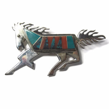 Vintage Navajo Spiny Oyster Turquoise Inlay Horse Brooch Sterling