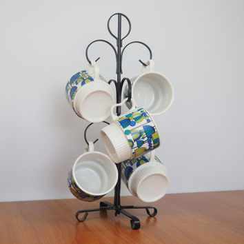 Set of 5 Groovy Retro Stacking Mugs with Display Rack // Blue and Green // Mid Century Modern Japan