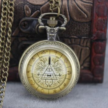 New Fashion Steampunk Drama Gravity Falls Mysteries Bill Cipher Wheel pocket watch necklace Glass Cabochon Handmade Jewelry