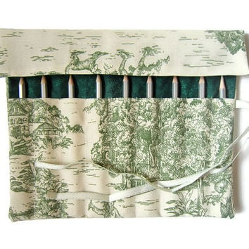 Pencil Roll/ Crochet Hook Case/ Cosmetic Brush Roll/  Arts and Crafts storage/ countryside view and green leafs