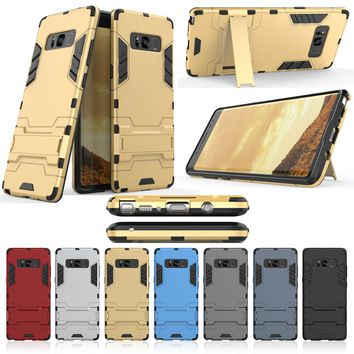 Luxury Iron Man Cover Shockproof Armor Hybrid Protective Mobile Phone Cases For Samsung Galaxy Note8 N950F Case With Bracket bq