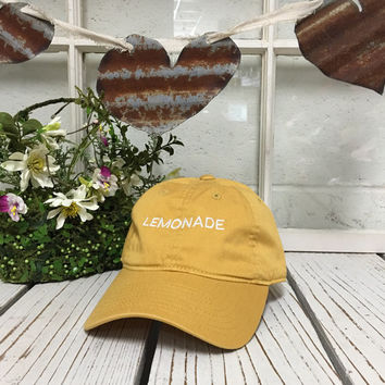 LEMONADE Baseball Hat Low Profile Embroidered BURNT YELLOW Baseball Caps Dad Hats White Thread