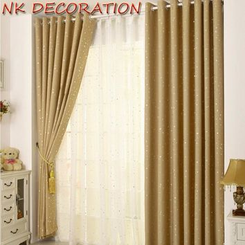NK DECORATION Cute Cream Color 1 Panel Star Blackout Curtains For Bedroom Living Room Curtain Kid's Room Curtain 100cm *  250cm