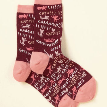 Parade Your Paws Socks in Cats | Mod Retro Vintage Socks | ModCloth.com