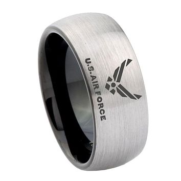 10mm US Air Force Dome Tungsten Carbide Silver Black Personalized Ring