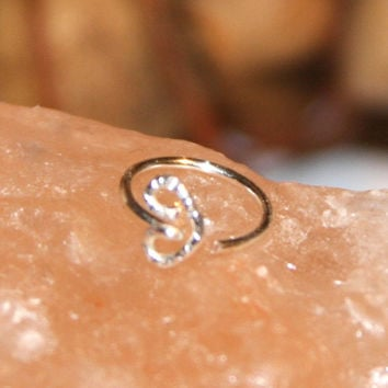 Small Nose Ring, Valentine Heart Nose Rings, Nose Hoops, Hoop Earring, Cartilage Hoop, Endless Hoop, Seamless Hoop, Piercing Jewelry, Hoop
