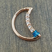 Crescent Moon Rose Gold Daith Rook Cartilage Hoop