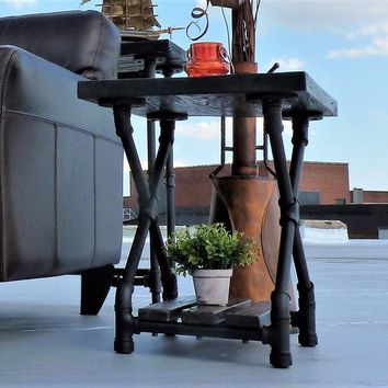 Houston Industrial Chic Side Table In Black Steel Combo With Dark Brown Stained Wood
