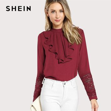 SHEIN Burgundy Elegant Ruffle Pleated Contrast Lace Button Stand Collar Long Sleeve Blouse Summer Women Workwear Shirt Top