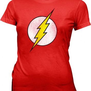 DC Comics The Flash Lightning Bolt Distressed Logo Red Juniors T-Shirt