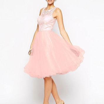 Pink Lace Paneled Organza Midi Dress