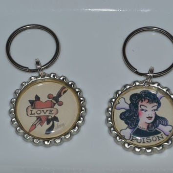 American Made Traditional Tattoo Sailor Jerry Design bottle cap Keychain
