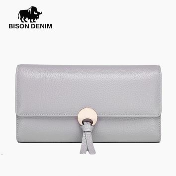 BISON DENIM Women Wallets High Quality Genuine Leather Purses For Women Female Hasp Fashion Lady Card Holder Money Wallet N3247