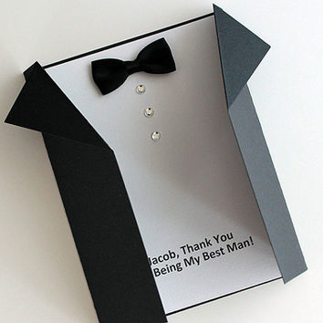 Customized GROOMSMEN Best Man or Usher classic wedding party card, handmade black tuxedo paper goods retro chic martini wedding party bridal