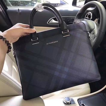 Burberry Men's Leather Briefcase Bag