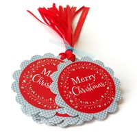 Merry Christmas Holiday Gift Tags - Wreath Christmas Favor Tags