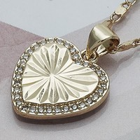 Gold Layered Women Heart Fancy Necklace, with White Micro Pave, by Folks Jewelry