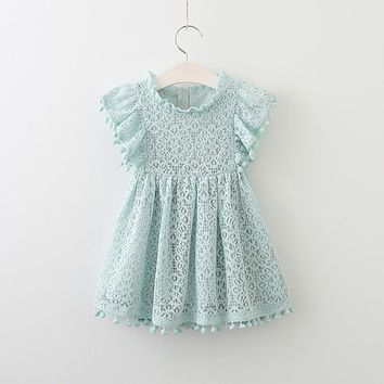 Baby Girls Dress Brand Summer Beach Style lace Dresses For Girls Vintage Toddler Girl tassel Clothing 2-7Yrs