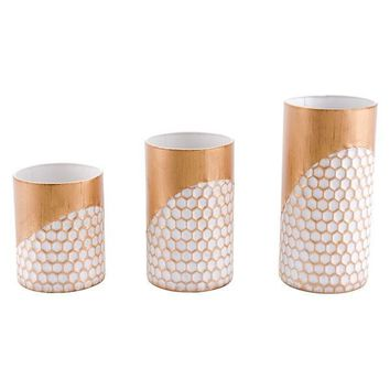 A10634 Honeycomb Set Of 3 Candle Holders Gold
