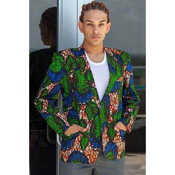 African Mens Blazer Jacket - Royal Blue/Green Floral print