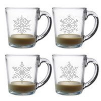 Paper Snowflakes Coffee Mugs - Set of 4