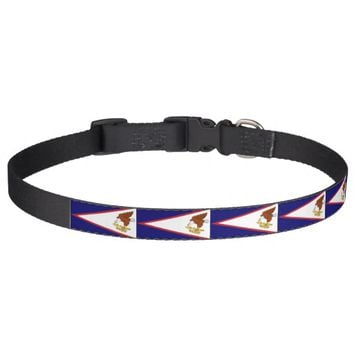 Patriotic dog collar with Flag of American Samoa