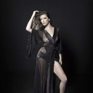 Oh la la Cheri Sheer Dressing Gown With Pleated Satin Neckline, Eyelash Lace Sides, And Satin Waist Tie