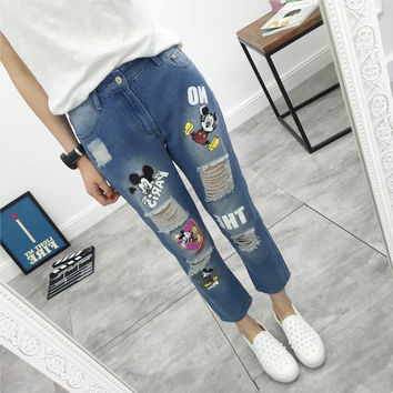 Three mice  2016 summer women's large size light blue jeans loose elastic jeans hole cartoon character Trousers XL-5XL