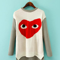 Love Big Eyes Print Long Sleeve Knitted Sweater
