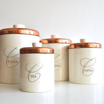Nesting Kitchen Canisters - White and Copper by Ransburg