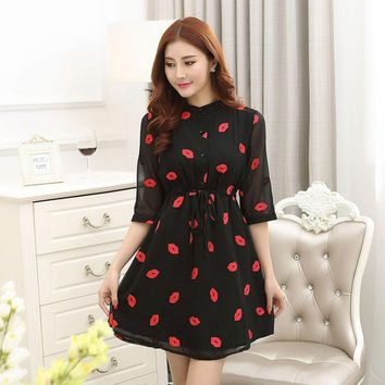 New Fashion Women Short Sleeve Red Dress Lips  Printed Cozy Clothing Casual Dresses