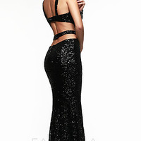Long Open Back Sequin Formal Gown by Faviana