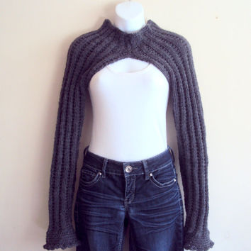 Hand Knit Long Sleeve Charcoal Grey Bolero Sweater Shrug Women Spring Fall Winter Clothing Fashion Accessories Gift Ideas  MADE TO ORDER