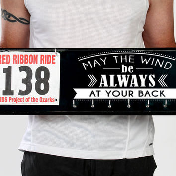 Running Medal Holder and Race Bib Hanger  - bib rack medal display - May the Wind be Always at Your Back