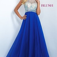 Gorgeous Beaded Chiffon Open Back Blush Prom Dress