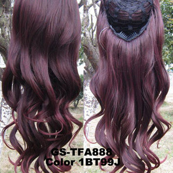 "HOT 3/4 Half Long Curly Wavy Wig Heat Resistant Synthetic Wig Hair 200g 24"" Highlighted Curly Wig Hairpieces with Comb Wig Hair GS-TFA888 1BT99J"