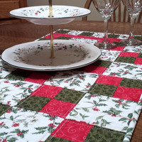 Quilted Christmas Table Runner, tradtional patchwork, festive red and green holly print fabric