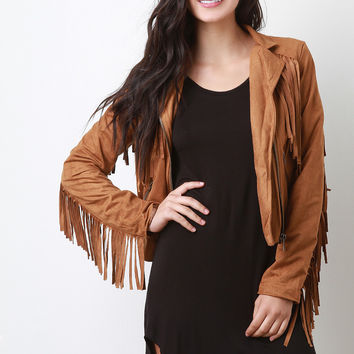 Zipped Up Suede Fringe Long Sleeves Jacket