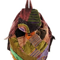 Corduroy Patchwork Peace Sign Bohemian Backpack