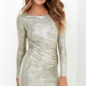 Luxe of My Life Gold Long Sleeve Dress