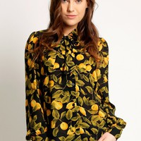 Lemon Orchard Printed Blouse In Black