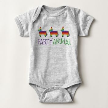 PARTY ANIMAL Rainbow Donkey Piñata Birthday Fiesta Baby Bodysuit